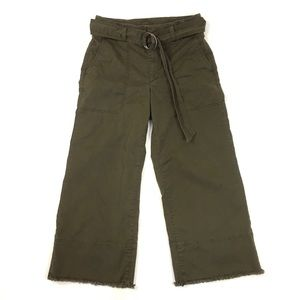 LOFT wide leg cropped pant raw hem twill